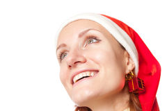 Happy smiling woman in christmas hat Royalty Free Stock Photo