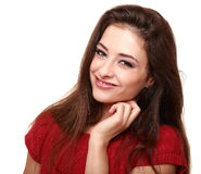 Happy smiling woman. Closeup isolated Stock Photography