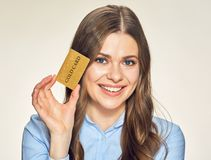 Happy smiling woman with credit card. Royalty Free Stock Photo