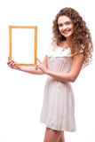 Happy smiling woman demonstrate frame, Stock Images