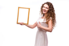 Happy smiling woman demonstrate frame, Stock Image