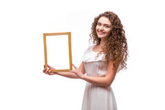 Happy smiling woman demonstrate frame Royalty Free Stock Image