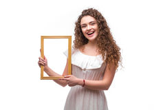 Happy smiling woman demonstrate frame, Stock Photos