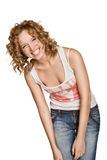 Happy Smiling Woman Dressed In Jeans Stock Images