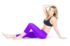 Happy Smiling Woman Exercising On White Background Stock Images