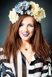 Happy Smiling Woman, Fashion Portrait Stock Photo