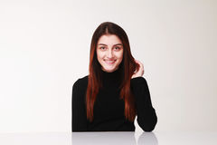 Happy smiling woman Gestures, body language, psychology. Happy smiling woman Gestures, body language Stock Photography