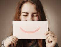 Happy smiling woman Gestures, body language, psychology. Happy smiling woman Gestures, body, psychology Royalty Free Stock Image