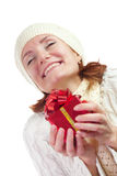 Happy smiling woman with gift Royalty Free Stock Images