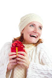 Happy smiling woman with gift Stock Photo