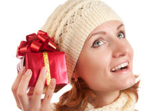 Happy smiling woman with gift Stock Images