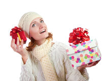 Happy smiling woman with gifts Stock Photo