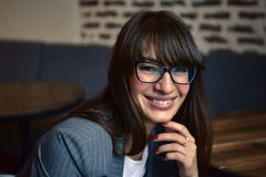 Happy smiling woman in glasses Royalty Free Stock Photos
