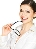 Happy smiling woman with glasses in hands Stock Photography