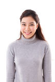 Happy, smiling woman with grey sweater Stock Images