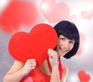 Happy smiling woman with heart symbol Royalty Free Stock Photo
