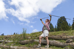 Happy smiling woman hiker Stock Photo