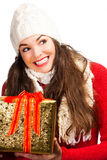 Happy smiling woman holding gift Stock Photography