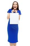 Happy smiling woman holding shopping bag Royalty Free Stock Image