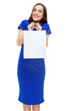Happy smiling woman holding shopping bag Royalty Free Stock Photos