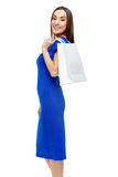 Happy smiling woman holding shopping bag Stock Image