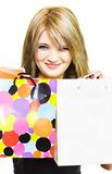 Happy smiling woman holding shopping bags Royalty Free Stock Photos