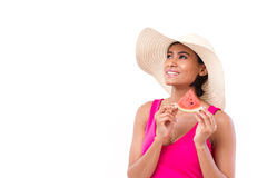 Happy, smiling woman holding watermelon Royalty Free Stock Photo