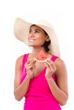 Happy, smiling woman holding watermelon Stock Photo