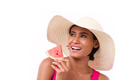 Happy, smiling woman holding watermelon, looking up Royalty Free Stock Images