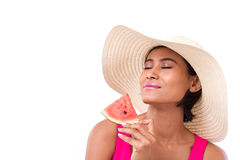 Happy, smiling woman holding watermelon Stock Photography