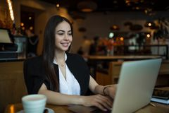 Free Happy Smiling Woman In Fashionable Clothes Having Online Training Course On Laptop Computer Stock Photo - 158787670