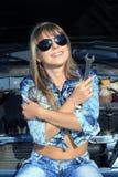 Happy smiling woman-mechanic Stock Photo