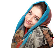 Happy smiling woman in modern shawl isolated Royalty Free Stock Photos