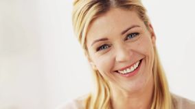 Happy smiling woman portrait at home stock video footage