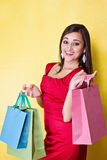 Happy smiling woman in red dress Stock Photos