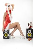 Happy smiling woman in red xmas costume Royalty Free Stock Images