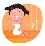 Happy smiling woman relaxing in sauna Royalty Free Stock Photography
