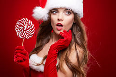 Happy smiling woman in santa claus christmas costume Royalty Free Stock Photos