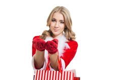 Happy smiling woman in santa claus clothes. Royalty Free Stock Image