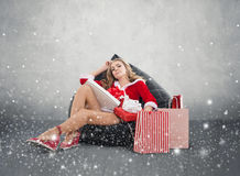 Happy smiling woman in santa claus clothes. Stock Image