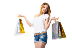 Happy smiling woman with shopping bags isolated Royalty Free Stock Photo