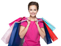 Happy smiling woman with shopping bags after shopping Stock Photos
