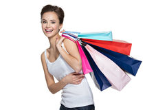 Happy smiling woman with shopping bags after shopping Royalty Free Stock Photos