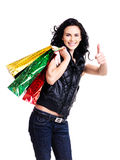 Happy smiling woman with shopping bags. Stock Images