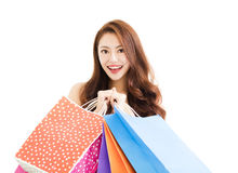 Happy smiling woman with shopping bags Royalty Free Stock Photo