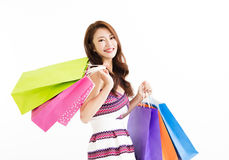 Happy smiling woman with shopping bags Royalty Free Stock Photography