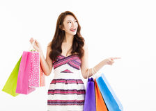 Happy smiling woman with shopping bags Stock Photo
