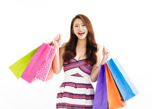 Happy smiling woman with shopping bags Stock Images