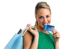 Happy smiling woman with shopping bags Stock Photography