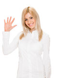 Happy smiling woman showing five fingers Royalty Free Stock Photography